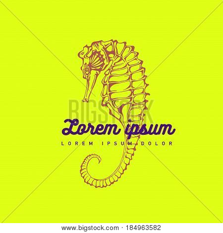 Hand silhouette drawing seahorse, logo and symbol, or marine icon. Aquqrium, underwater. Colorful