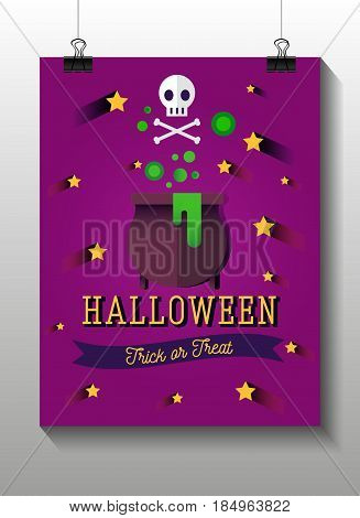 Halloween flat icons. Witches pot potion, star, ribbon. Invitation, poster or card for Halloween Night Party. Trick or Treat.