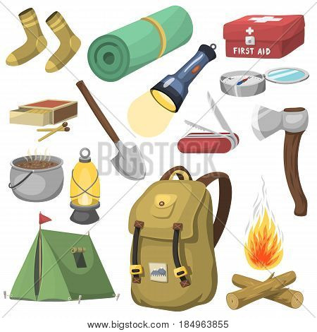 Camping outdoor travel equipment cartoon style vector icons isolated on white. Tent, flashlight, match, compass. Expedition concept camping stickers icons. Vector travel outdoor camp expedition.