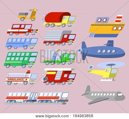 vector illustration of Flat Skew Transportation Icon Set