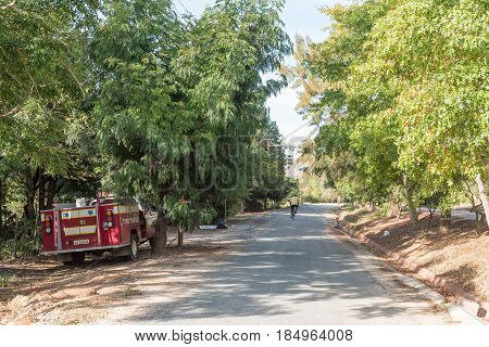 GREYTON SOUTH AFRICA - MARCH 27 2017: A street scene with a firetruck in Greyton a small town in the Western Cape Province of South Africa