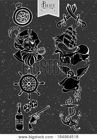 Hand drawing icons set and silhouette pirate adventure sea, cove, dice, rum, anchor, helm, sword, compass, portrait of a pirate ship revolver parrot Calligraphy