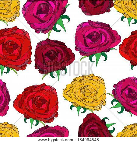 vector illustration of seamless pattern with variety of outlined roses