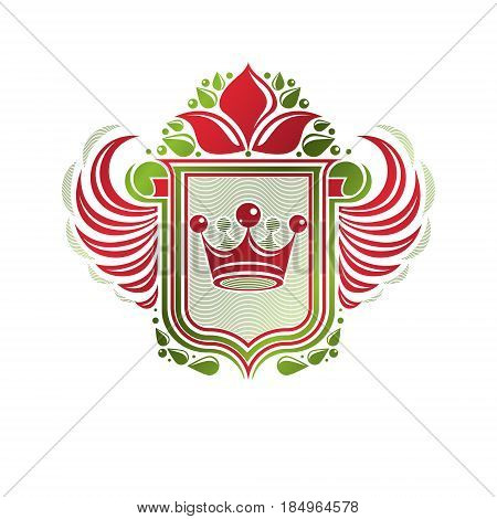 Vintage heraldic coat of arms created with imperial crown and lily flower royal symbol. Eco friendly product symbol best quality theme illustration defense shield made with cartouche.
