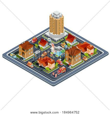 Vector isometric illustration residential quarter with icons of residential houses, cottages, tower house, a fast food restaurant, food delivery trucks