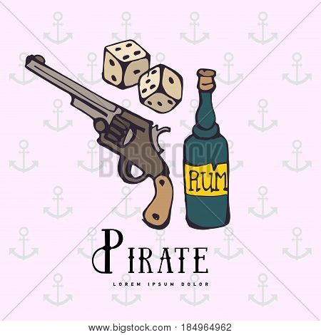 Hand drawing pirate rum, gun, pistol, revolver, handgun or and game bones with silhouette. Symbol, object of pirate. Adventure sea. Games of chance