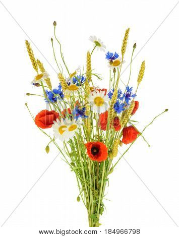 Bouquet Of Beautiful Flowers (cornflowers, Chamomiles Wheat And Poppies) Isolated Without Shadow