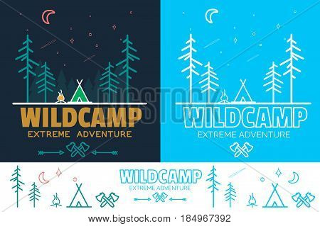 Trendy Camping logo badge set in outline style. Camping logo illustration. Vector camping badge concept. Line camp icons for your design