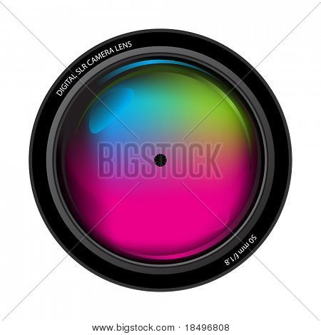 Vector - Illustration of the front element of a professional digital camera lens