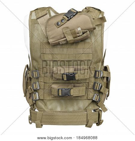 camouflage, military body armor, mannequin, isolated on white background