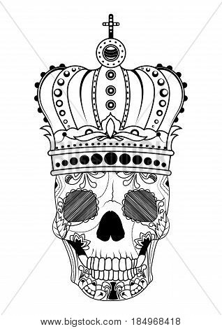 Line art hand drawing black skull with crown on had isolated on white background. Dudling style. Tatoo. Zenart. Coloring for adults. Vector illustration.