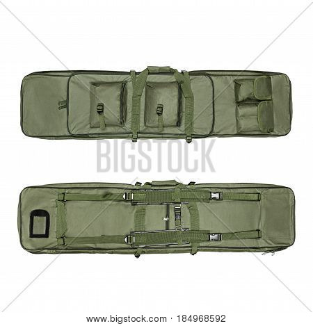 Military bag, military backpack, camouflage, isolated white background