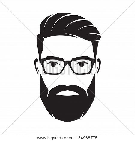 Bearded men face, hipster character. Fashion silhouette, avatar, emblem, icon label Vector illustration