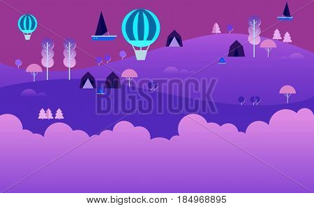 Landscape Infographics. Lake and Hills Hiking Route. Ecotourism. Flat illustration. nature and outdoor, park, garden. Ecology structure. Green energy, Fairytale background. Purples Magic night land