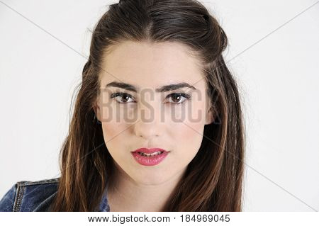 Closeup portrait of an attractive hipster woman. Isolated on white background.