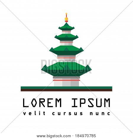 Flat icon of pagoda. Symbol of Eastern culture. Asian temple. Building