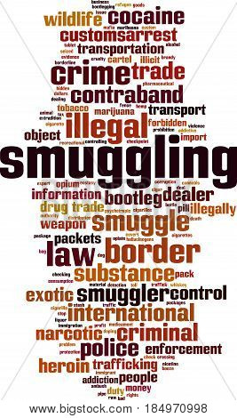 Smuggling word cloud concept. Vector illustration on white