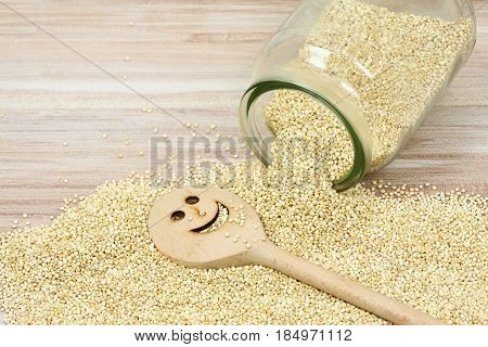 Organic white quinoa seed lat. Chenopodium quinoa. White quinoa seeds and funny cooking spoon.