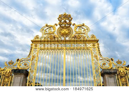 Versailles palace golden entrancesymbol of king louis XIV power France.