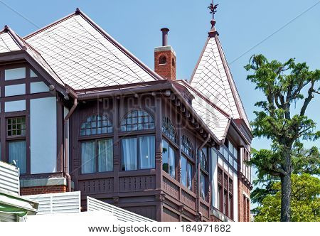 Kobe, Japan - April 2016: Classic Old Building Of Weathercock House In Historic Area Of Kitano Distr