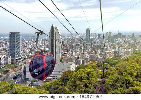 Kobe, Japan - April 2016: Kobe Cityscape And Skyscraper Seen From Ropeway To Nunobiki Herb Garden On