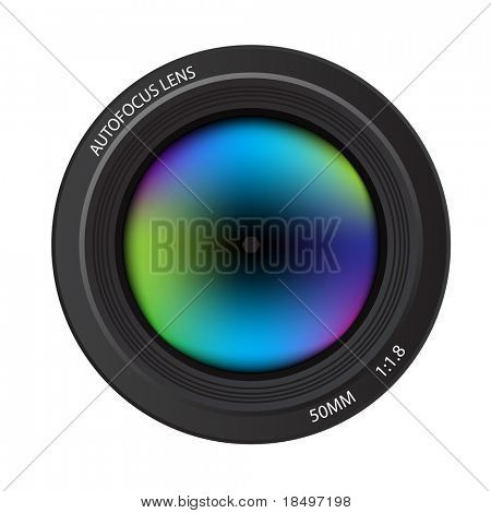 Vector - Illustration of a colorful dslr camera lens, front view