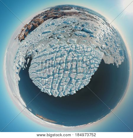Circular panorama and just air on ice floes, terrain and scenery Antarctic .Sunrise, day, sunset. Shooting with quadrocopter.
