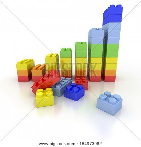 3D rendering of a growth chart in plastic bricks
