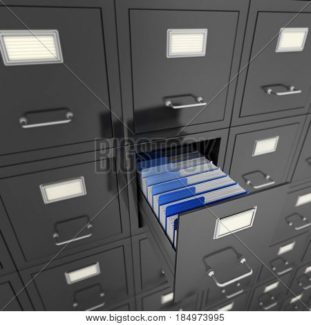Huge file cabinet with an open drawer, 3D rendering