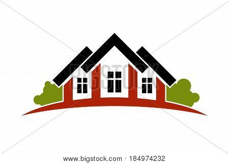 Colorful Holiday Houses Vector Illustration, Home Image With Horizon Line. Touristic And Real Estate