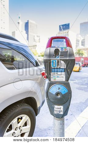 San Francisco CA USA october 2016: parking machine with electronic payment on road in san francisco