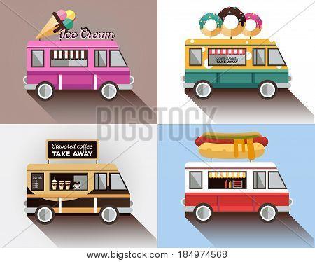 Cafe car on the street. Hotdog, bar, ice cream, coffee shop on wheels. Vector color flat illustrations. Food van. Sat of food truck logos