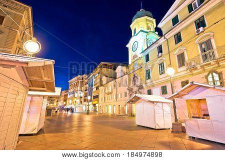 Rijeka Main Square Korzo Evening View