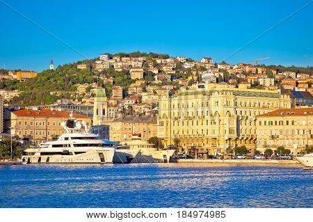 City Of Rijeka Waterfront Boats And Architecture View