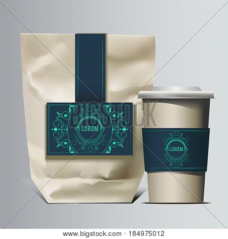 Mockup Foil Food Snack pack For Chips, Spices, Coffee, Salt, and other products. Plastic Pack Template for your design and branding. Vector. Realistic packaging with label and typography. Coffee to go