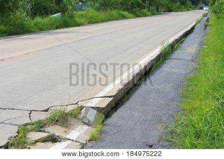 Road Crack Damage Danger For People Have Accident