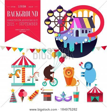Carnival in amusement park. Flat landscape with, roller coaster, gingerbread house, carousel, tent, circus animals. Icon set. Fairy tale