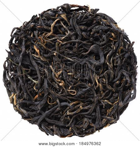 Wild Arbor black tea crop isolated in round shape overhead view