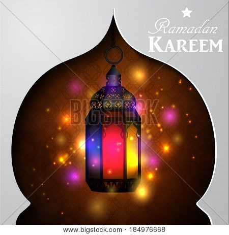 Vector illustration d magic stain glass light on dark background in paper window
