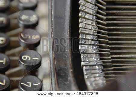 The old metal fonts and stylish keys of retro typewriter