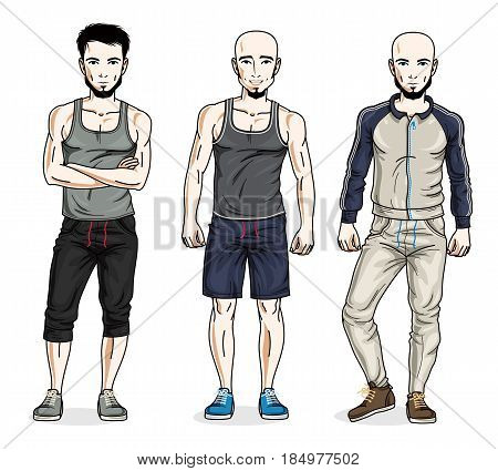 Confident Handsome Men Group Standing In Stylish Sportswear. Vector People Illustrations Set. Lifest