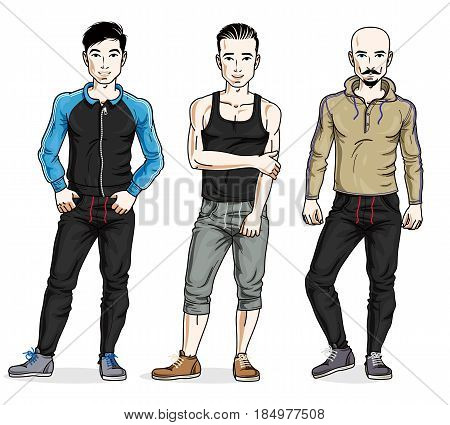 Confident Handsome Men Group Standing In Stylish Sportswear. Vector People Illustrations Set.