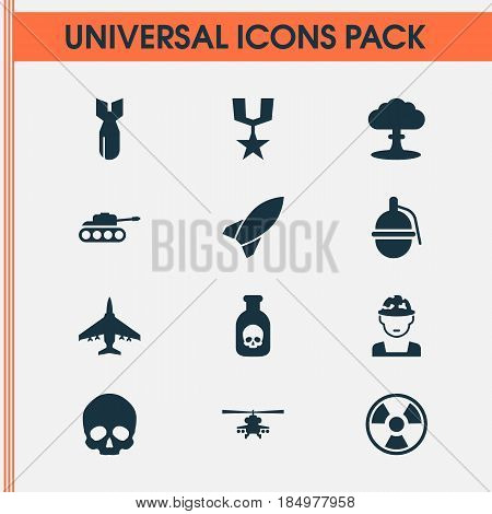 Warfare Icons Set. Collection Of Military, Danger, Rocket And Other Elements. Also Includes Symbols Such As Military, Aircraft, Fatal.