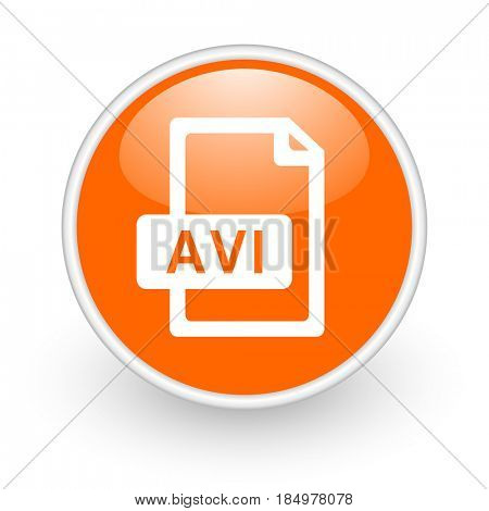 Avi file modern design glossy orange web icon on white background.