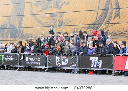 St. Petersburg Russia - 15 April, Crowd of spectators motorcycle show,15 April, 2017. International Motor Show IMIS-2017 in Expoforurum. Sports motorcycle show of bikers on the open area.