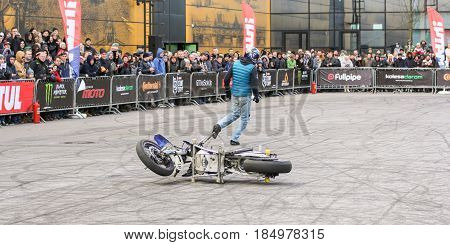 St. Petersburg Russia - 15 April, Motoshow for the public,15 April, 2017. International Motor Show IMIS-2017 in Expoforurum. Sports motorcycle show of bikers on the open area.