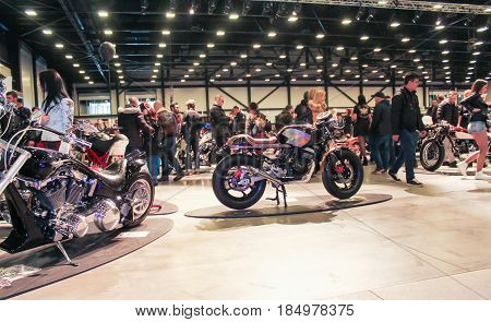 St. Petersburg Russia - 15 April, Great hall of the motor show,15 April, 2017. International Motor Show IMIS-2017 in Expoforurum. Visitors and participants of the annual moto-salon in St. Petersburg.