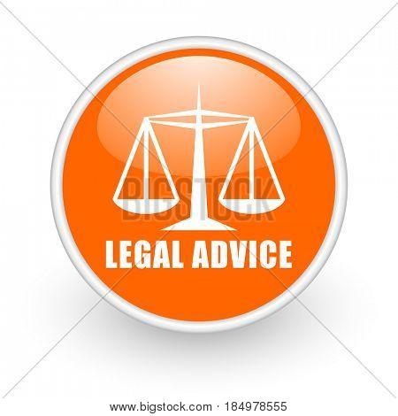 Legal advice modern design glossy orange web icon on white background.