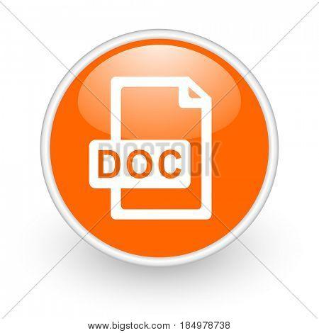 Doc file modern design glossy orange web icon on white background.
