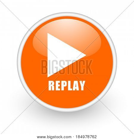 Replay modern design glossy orange web icon on white background.